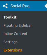 WP Social Pug options